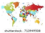 color world map. | Shutterstock .eps vector #713949508