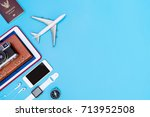 travel gadgets and objects on