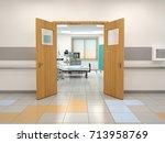 open doors to the hospital room.... | Shutterstock . vector #713958769