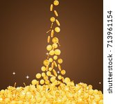 falling down gold coins with... | Shutterstock .eps vector #713961154