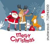 vector christmas greeting card. ... | Shutterstock .eps vector #713963530