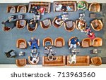 high angle view of people on... | Shutterstock . vector #713963560