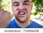 young man in a blue t shirt...   Shutterstock . vector #713966428