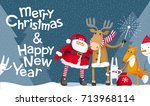 vector christmas greeting card. ... | Shutterstock .eps vector #713968114