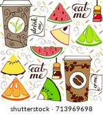 hand drawn coffee  tea and... | Shutterstock .eps vector #713969698