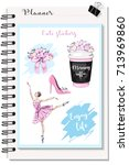 cute stickers for planner ... | Shutterstock .eps vector #713969860