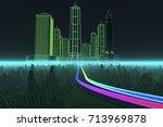 data streams in a digital world ... | Shutterstock . vector #713969878