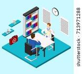 isometric people doctor... | Shutterstock .eps vector #713971288