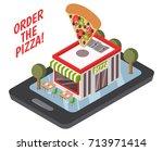 online pizzeria isometric... | Shutterstock .eps vector #713971414