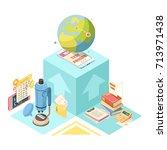 distance education isometric... | Shutterstock .eps vector #713971438