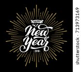 happy new year card with... | Shutterstock .eps vector #713973169