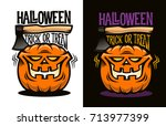 halloween logo with funny... | Shutterstock .eps vector #713977399