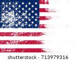 grunge usa flag.flag of united... | Shutterstock .eps vector #713979316