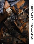 close up details of old rusty... | Shutterstock . vector #713979883