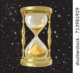 old gold hourglass or sandglass ... | Shutterstock .eps vector #713981929