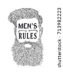 men's rules quote retro style... | Shutterstock .eps vector #713982223