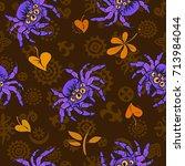 halloween seamless pattern with ...   Shutterstock .eps vector #713984044