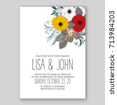 hibiscus poinsettia wedding... | Shutterstock .eps vector #713984203