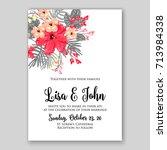 hibiscus poinsettia wedding... | Shutterstock .eps vector #713984338
