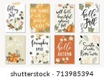 set of autumnal card for... | Shutterstock .eps vector #713985394