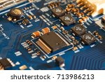 electronic circuit board close... | Shutterstock . vector #713986213
