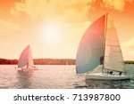 sailing boat with big blue... | Shutterstock . vector #713987800
