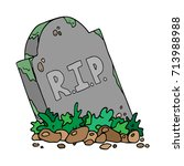 the gravestone with the... | Shutterstock .eps vector #713988988