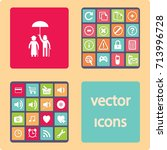 flat icon old family. under the ... | Shutterstock .eps vector #713996728