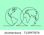 continuous line drawing of... | Shutterstock .eps vector #713997874