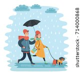 Stock vector vector cartoon illustration of a couple under an umbrella walking in the rain young man and woman 714000868