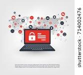 network vulnerability  locked... | Shutterstock .eps vector #714002476