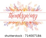 thanksgiving typography.... | Shutterstock .eps vector #714007186