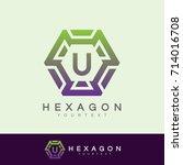 hexagon initial letter u logo... | Shutterstock .eps vector #714016708