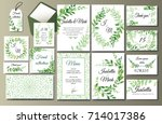 set of creative botanical... | Shutterstock .eps vector #714017386