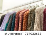 nice warm colorful sweaters... | Shutterstock . vector #714023683