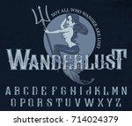 """wanderlust""   typeface poster... | Shutterstock .eps vector #714024379"