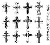 religion crosses isolated....   Shutterstock .eps vector #714025633