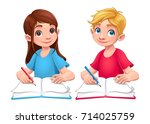 young students boy and girl... | Shutterstock .eps vector #714025759
