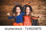 laughing funny children sister... | Shutterstock . vector #714025870