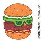 hamburger head vector...   Shutterstock .eps vector #714032254