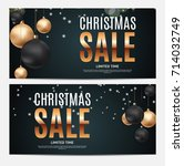 christmas and new year sale... | Shutterstock .eps vector #714032749