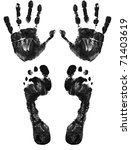 Hands And Feet Print Isolated...