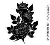 Stock vector branch of buds of roses with leaves on a white background rose tattoo 714036634