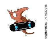 anteater skateboarder cartoon | Shutterstock .eps vector #714037948