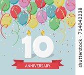 ten years anniversary greeting...   Shutterstock .eps vector #714042238