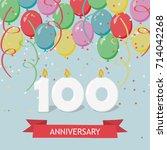one hundred years anniversary...   Shutterstock .eps vector #714042268