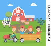 little caucasian boy driving a... | Shutterstock .eps vector #714044464