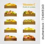 vitamin c fruits in wooden... | Shutterstock .eps vector #714045163