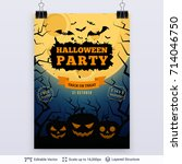 halloween party poster with... | Shutterstock .eps vector #714046750