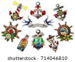 vector sailor's stickers... | Shutterstock .eps vector #714046810